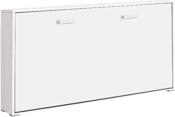 Cama abatible horizontal de 90 cm en mueble color blanco