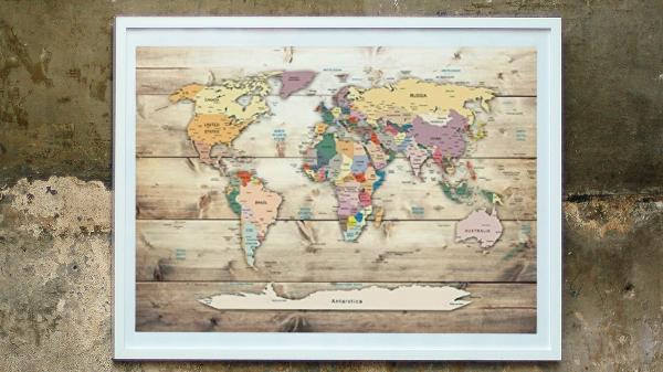 Mapamundo de corcho enmarcado